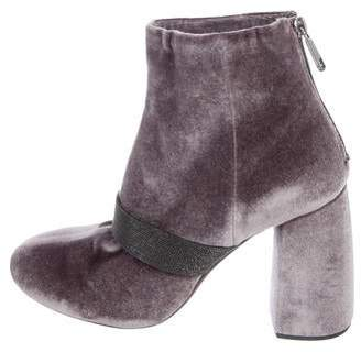 Brunello Cucinelli Velvet Pointed-Toe Ankle Boots