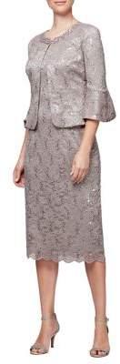 Alex Evenings Two-Piece Tea-Length Shift Dress and Jacket Set