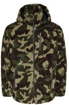 ONLY & SONS Faux Shearling Camouflage Jacket