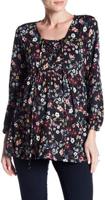 Everly Grey Maternity Victoria Lace-Up Floral Blouse (Maternity)