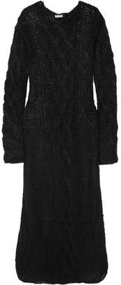 Miu Miu Cable-knit Mohair-blend Maxi Dress