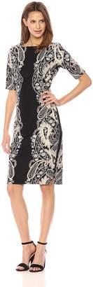 Gabby Skye Women's Paisly Printed Sheath Dress, Black/Taupe