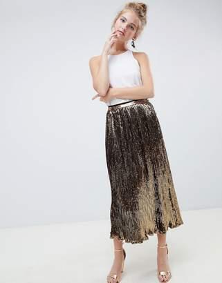 Asos Design DESIGN pleated sequin midi skirt