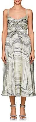 Derek Lam Women's Folkloric-Print Silk Knotted Dress