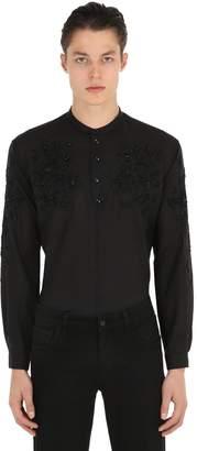 Saint Laurent Floral Embroidered Light Wool Shirt