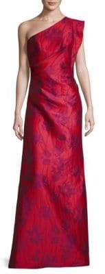 ML Monique Lhuillier Floral-Print One-Shoulder Gown