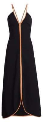 Victoria Beckham Leather-Trimmed Camisole Dress