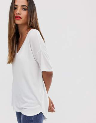 Asos Design DESIGN v neck oversized t-shirt in textured jersey in white