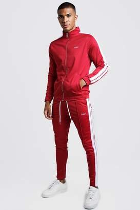 boohoo Original MAN Tricot Tracksuit With Side Tape
