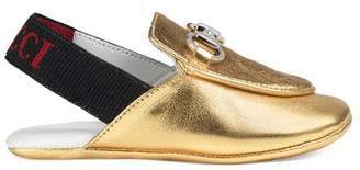 Gucci Baby Princetown metallic leather slipper