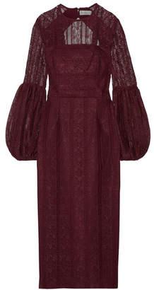 Rebecca Vallance Lou Lou Open-back Lace Midi Dress - Burgundy