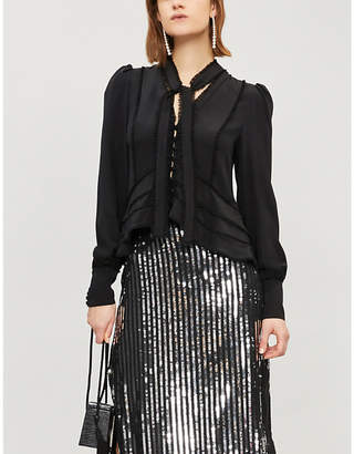 Alexis Mariel frilled rouleau-button front silk blouse