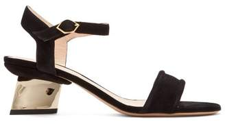 Nicholas Kirkwood Veronika Pearl Heeled Suede Sandals - Womens - Black