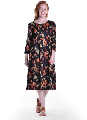 La Cera Women'S Printed Cotton Knit A-Line Dress - Plus