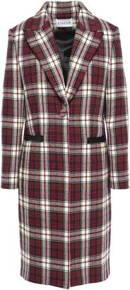 Claudie Pierlot Gallion Leather-trimmed Checked Wool-blend Coat