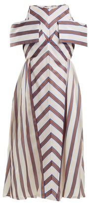 Fendi Striped Off The Shoulder Silk Blend Dress - Womens - Brown Stripe