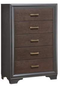 Emerald Home Prelude Honey Black and Brown Dresser with Antique Brass Hardware, 5-drawer