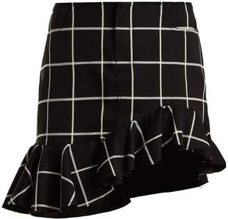 Marques Almeida MARQUES'ALMEIDA Checked ruffled-hem cotton-blend mini skirt