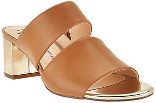Isaac Mizrahi Live! Leather Double Strap SlideSandals w/ Heel
