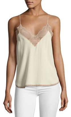 Zadig & Voltaire Christy Silk Lace Camisole Top, Ecru $198 thestylecure.com