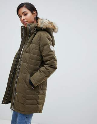 Jack Wills down padded coat with faux fur hood