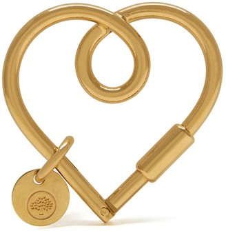 Mulberry Looped Heart Keyring Brass Metal