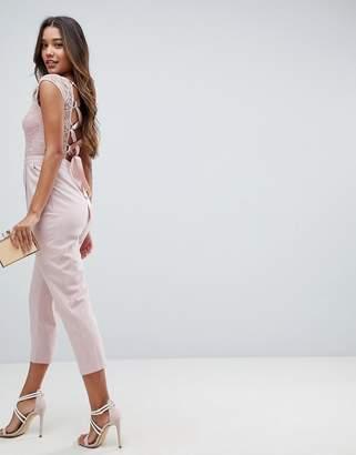 Asos DESIGN Lace Top Jumpsuit with Lattice Back