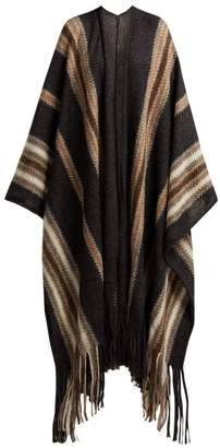 Isabel Marant Striped Mohair Blend Poncho - Womens - Grey