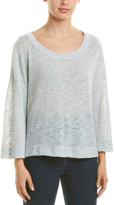 Three Dots Dropped-Shoulder Linen-Blend Sweater