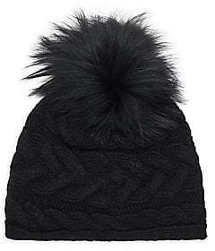 9a3ca235764 Portolano Women s Cable Knit Fox Fur Pompom Hat