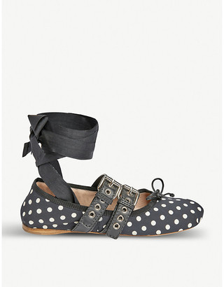 Miu Miu Polka-dot leather-trimmed ballerina flats