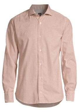 Eleventy Melange Cotton Stripe Button-Down Shirt