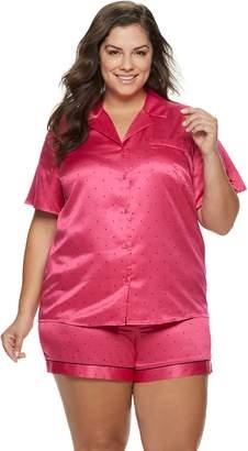 Apt. 9 Plus Size Notch Collar Satin Shirt & Shorts Pajama Set