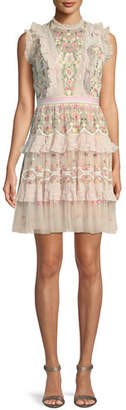 Needle & Thread Lattice Rose Embroidered Frill Mini Dress