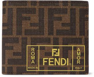 Fendi Logo-Print Cross-Grain Leather Billfold Wallet - Men - Brown