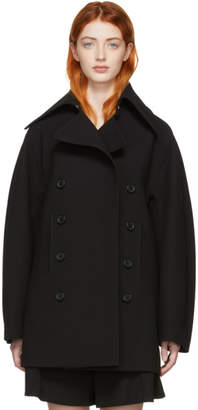 Chloé Black Wool Crepe Compact Coat