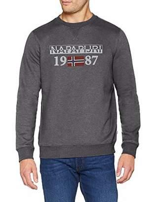 Napapijri Men's Berthow Logo Crew Sweatshirt (Dark Grey Mel 197)
