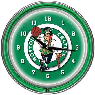 Boston Celtics Chrome Double-Ring Neon Wall Clock