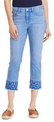 Lauren Ralph Lauren Petite Embroidered Straight Cropped Jeans