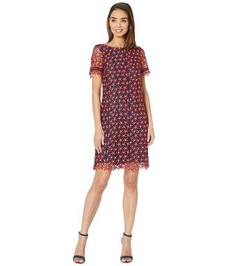 Tahari ASL Short Sleeve Lace Floral Dress
