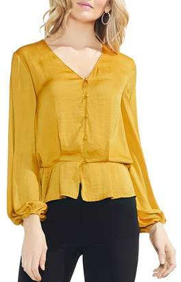 Vince Camuto Blouson Button Peplum Top