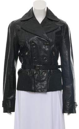 Dolce & Gabbana Double-Breasted Belted Leather Jacket