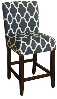 """HomePop Geo Brights Navy Blue Upholstered Barstool 24"""" Counter Height"""