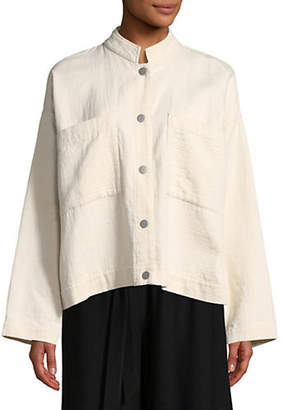 Eileen Fisher Mandarin Collar Cotton Jacket