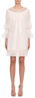 Ermanno Scervino Long-Sleeve Lace and Eyelet Dress