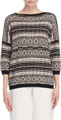 Roberto Collina Patterned Three-Quarter Sleeve Sweater