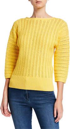 St. John Slip Knit Bateau-Neck 3/4 Sleeve Sweater