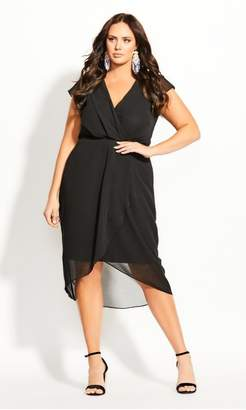City Chic Citychic Wrap Swing Dress - black