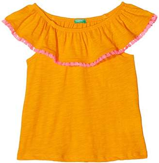 Benetton Girl's Sweater H/s Jumper, (Flame Orange 37w), One (Size: KL)
