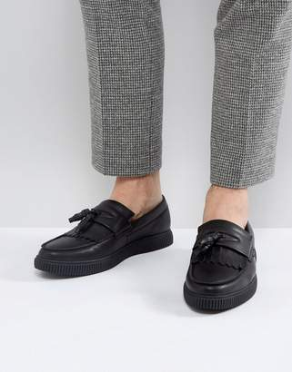 Asos Design Loafers In Black With Creeper Sole